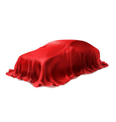 Car covered with red silk cloth vector