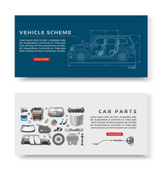 Car spares and auto parts with vehicle scheme vector