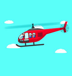 Cartoon helicopter people flying sky vector