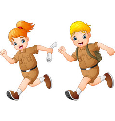 cartoon kids running with safari costumes vector image