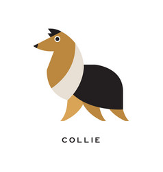 Cartoon tricolor collie character icon vector