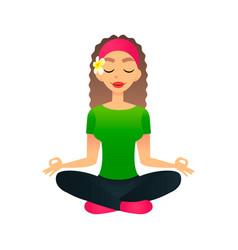 Cartoon young beautiful girl practicing yoga in a vector