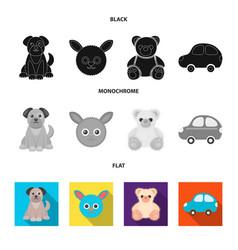 Children toy black flat monochrome icons in set vector