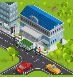 city bank isometric composition vector image