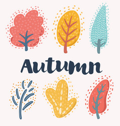 collection autumn trees vector image