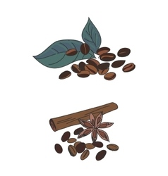 Colored doodle coffee beans vector