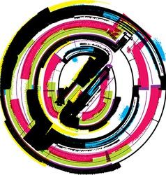 Colorful Grunge Font NUMBER 0 vector image