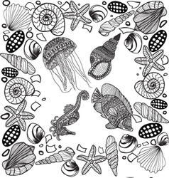 composition of tropical fish seahorse jellyfish vector image