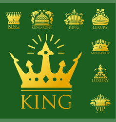 Crown king vintage premium golden badge heraldic vector
