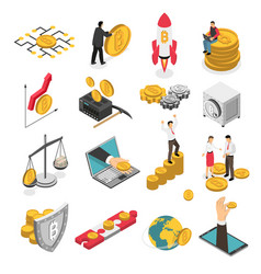 Cryptocurrency isometric icons set vector