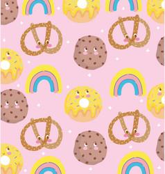 cute food pattern design decoration pretzel vector image