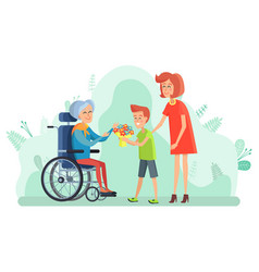 Disabled woman on wheelchair boy with flowers vector