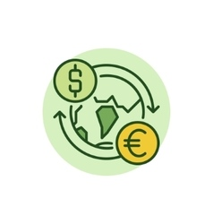Dollar to Euro convert flat icon vector