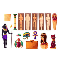 Egyptian attributes culture and religion set vector