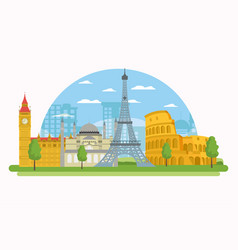 Europe monuments scenery vector