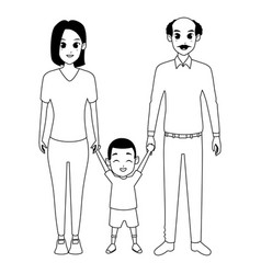 Family young parents with little kid in black and vector