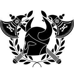 Fantasy barbarian helmet with axes vector