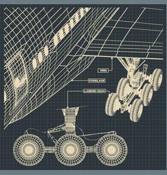 Fragments of civil aircraft drawings vector