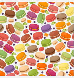 French macarons in seamless pattern vector