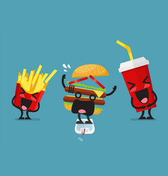 funny laughing french fries and soft drink vector image