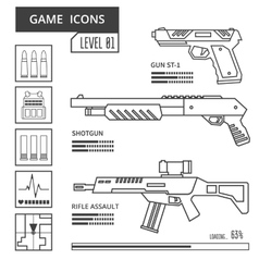 Game icons weapon vector