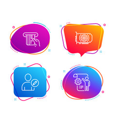 Gpu credit card and edit user icons set settings vector