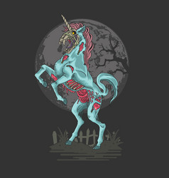Halloween zombie unicorn vector