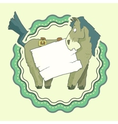 Hand Drawn Label of Character Horse with wooden vector image