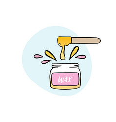 Handdrawn of cosmetic wax in jar with vector