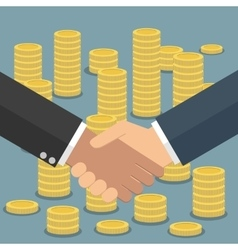 Handshake in flat style coins stacks vector image