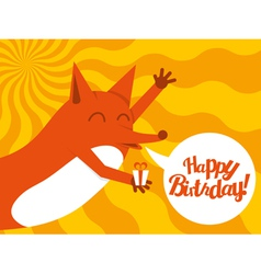 Happy birthday fox vector