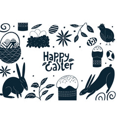 Happy easter design template spring holiday vector