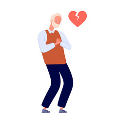 Heart attack adult man chest pain old person has vector