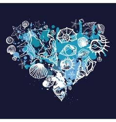 heart shells hand drawn vector image