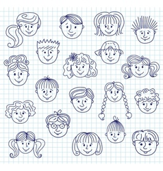 hildren doodle faces vector image