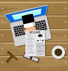 hiring online top view vector image