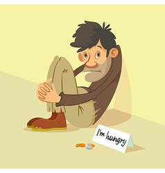 Homeless begs for money vector