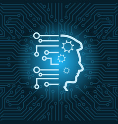 Human head icon over blue circuit motherboard vector