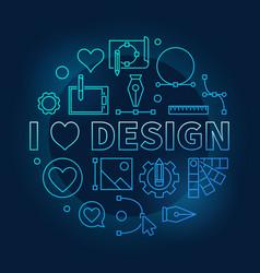 i love design blue concept round line vector image