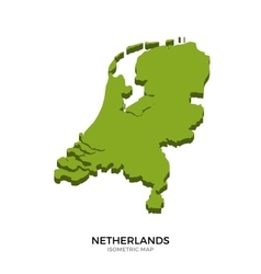 Isometric map of Netherlands detailed vector image