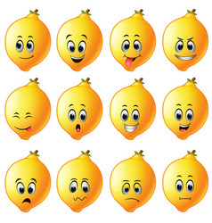 Lemons with different emoticon vector