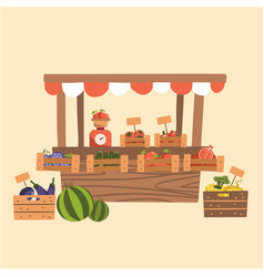 local autumn products at farmers market organic vector image