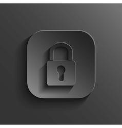 Lock icon - black app button vector image