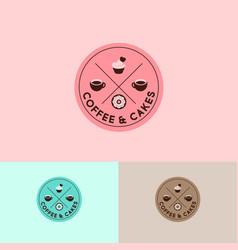 Logo coffee cups cakes doughnut circle emblem vector