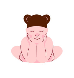 lovely newborn baby in bear cap sleeping vector image