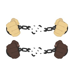 Male hands breaking steel handcuffs vector image