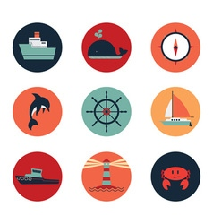 Marine icons in circles vector