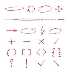 Marker emphasis handwritten circles arrows vector