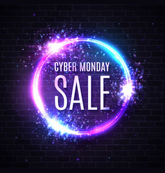 neon cyber monday sale discount card with glowing vector image