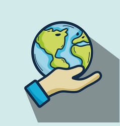 Nice earth planet in the hand vector